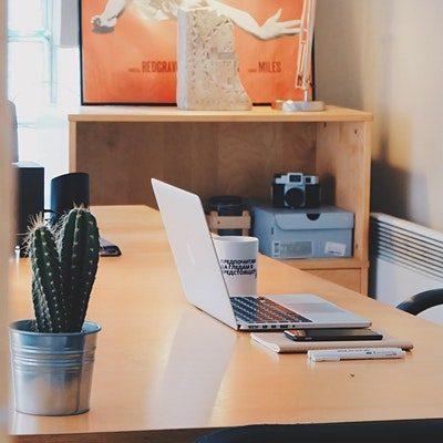 laptop setup on desk at home